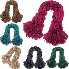 Retro Fashion Totem Pattern Paris Yarn Long Scarf Womens Girls Soft Shawl Wrap
