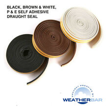 Weatherbar Draft/Draught Excluding Rubber Seal, P or E Shape, Self Adhesive, 5M