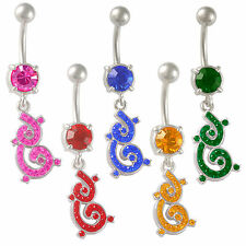 dangle navel bars surgical steel belly button rings crystal button balls 9PWU
