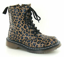 Spot On infant / older girls ankle boots Tan Leopard Print PU lace and zip H3014
