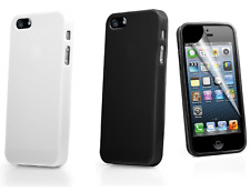Ultra Thin Hard Gloss Case Cover iPhone 5 5S Screen Protector Black or White