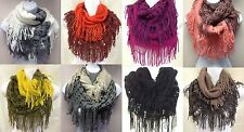 Fall/winter Fashion Women Neck Warmer fringed Infinity Scarf  2 tone color