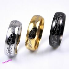 Stylish Women Lord of the Rings Stainless Steel Mens Band Ring Gold/Black Color