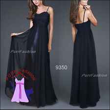 Size 8-18 Exquisite Dark Blue Spaghetti Chiffon Ruffles Strap Evening Long Dress