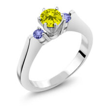 0.71 Ct Round Canary Diamond Blue Tanzanite 14K White Gold 3-Stone Ring