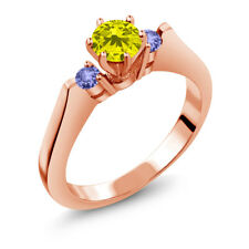 0.71 Ct Round Canary Diamond Blue Tanzanite 14K Rose Gold 3-Stone Ring