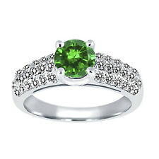 1.96 Ct Round Green Simulated Emerald White Diamond 925 Sterling Silver Ring