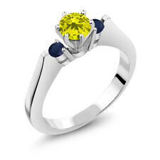 0.71 Ct Round Canary Diamond Blue Sapphire 14K White Gold 3-Stone Ring