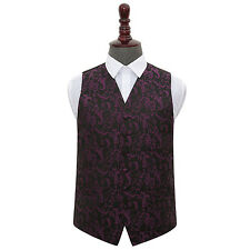 NEW DQT PASSION MENS WEDDING WAISTCOAT - BLACK & PURPLE