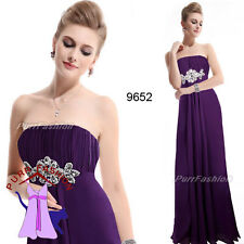 09652 Purple Chiffon Strapless Evening Long Formal Prom Bridesmaid Dress UK 6-18