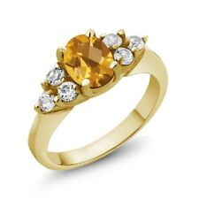1.45 Ct Oval Checkerboard Yellow Citrine White Diamond 14K Yellow Gold Ring