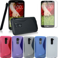 S-LINE Soft GEL TPU Rubber Skin Case cover+Free Film for LG Optimus G2 D802 D801