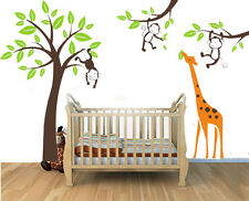 Large Giraffe Monkey Tree I Wall Art Stickers Kids Nursery Vinyl Decal removable