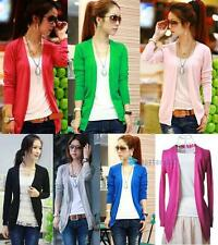 New Women Irregular Hem Long Sleeve Cardigan Knit Sweater Candy Colors Tops TSR