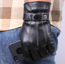 Men's Driving Gloves PU Leather Wrist Gloves 3 Lines Black + Tracking no
