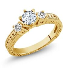 0.86 Ct Round White Topaz Sapphire 18K Yellow Gold Plated Silver 3-Stone Ring