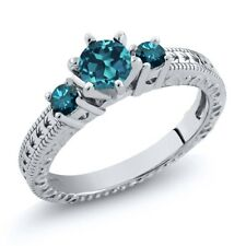 0.79 Ct Round London Blue Topaz Blue Diamond 925 Sterling Silver 3-Stone Ring
