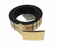 Belt Woman  Burberry Fabric and Leather  Beige Print Check Classic Burberry