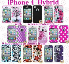 iPhone 4 4G 4S - Hard & Soft Rubber Hybrid Armor Case Cover + Screen Protector