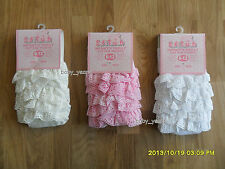 BABY GIRLS BRODERIE ANGLAISE FRILLY  BUM TIGHTS WHITE PINK CREAM CHRISTENING
