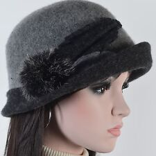 Lady Wool Dress Hat Leaf Cloche Bucket Hat Felt Church Evening Party Hat