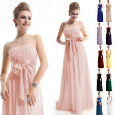 Sexy Strapless Chiffon Bowtie Empire Line Evening Long Bridesmaid Dress 6-18
