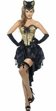 Ladies Burlesque Kitty Costume Sexy Halloween Fancy Dress Corset and Skirt