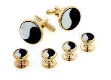 Yin and Yang Onyx and Mother of Pearl Tuxedo Cufflinks and Studs