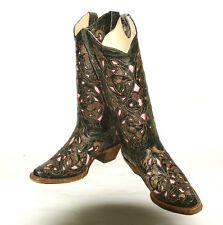 Black Cognac & Pink Laser Overlay Women's Corral A1953  Fashion Western Boot