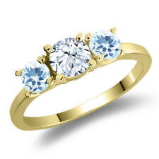 1.26 Ct Round White Topaz Sky Blue Topaz 925 Yellow Gold Plated Silver Ring