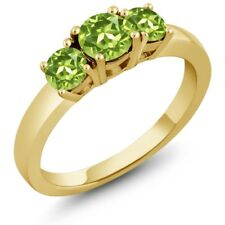 1.20 Ct Round Green Peridot 18K Yellow Gold Ring