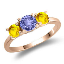 1.18 Ct Round Blue Tanzanite Yellow Sapphire 925 Rose Gold Plated Silver Ring