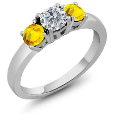 1.22 Ct Round G/H Diamond Yellow Sapphire 925 Sterling Silver 3-Stone Ring