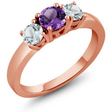 0.89 Ct Purple Amethyst Sky Blue Aquamarine 925 Rose Gold Plated Silver Ring