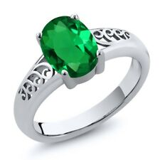 1.50 Ct Oval Green Simulated Emerald 925 Sterling Silver Ring