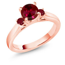 1.28 Ct Round Red Created Ruby Red Ruby 14K Rose Gold 3-Stone Ring
