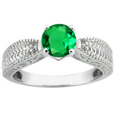 0.77 Ct Round Green VS Simulated Emerald 18K White Gold Ring