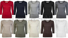 Ladies Tops 3/4 Sleeve Cotton T Shirt Plain Basic Size 8 - 16