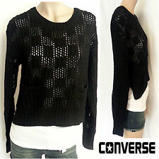 NWT  Women's CONVERSE Wool Mohair BLACK knit Crop LS Sweater Top Shirt SMALL $88