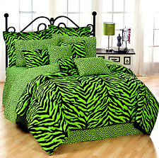 Bed in a Bag Lime Green Zebra Print Comforter & Sheet Set by Karin Maki