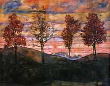 Schiele four-trees-1917  ART A2 A3 giclee Print Picture