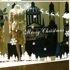 Happy Christmas Forest Snowflake And Sledge Old Man Decor Wall Sticke White