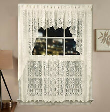 NEW Ivory Cream Jacquard Lace Tier Curtains