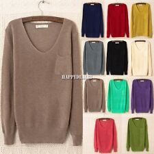 Womens Girls V-neck Long Sleeve Pocket Soft Knitted Jumpers Sweater Tops HD23L