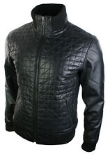 Mens Retro Style Zipped Quilted Bomber Jacket Real Leather Black Slim Fit