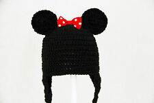 Mickey or Minnie Mouse Earflap Hat from Disney, Knit / Crochet Beanie baby-adult
