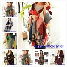 Hot Women Wool Warm Plaids Checks Long Scarf Pashmina Shawl Wrap Soft Scarves