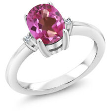 1.54 Ct Oval Pink Mystic Topaz White Topaz 925 Sterling Silver Ring