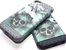 iPod Touch 5th 6th Gen - Hard&Soft Rubber Silicone Hybrid High Impact Case Skull