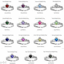 Claddagh Irish Birthstone Genuine Sterling Silver Adjustable Ring / Toe Ring